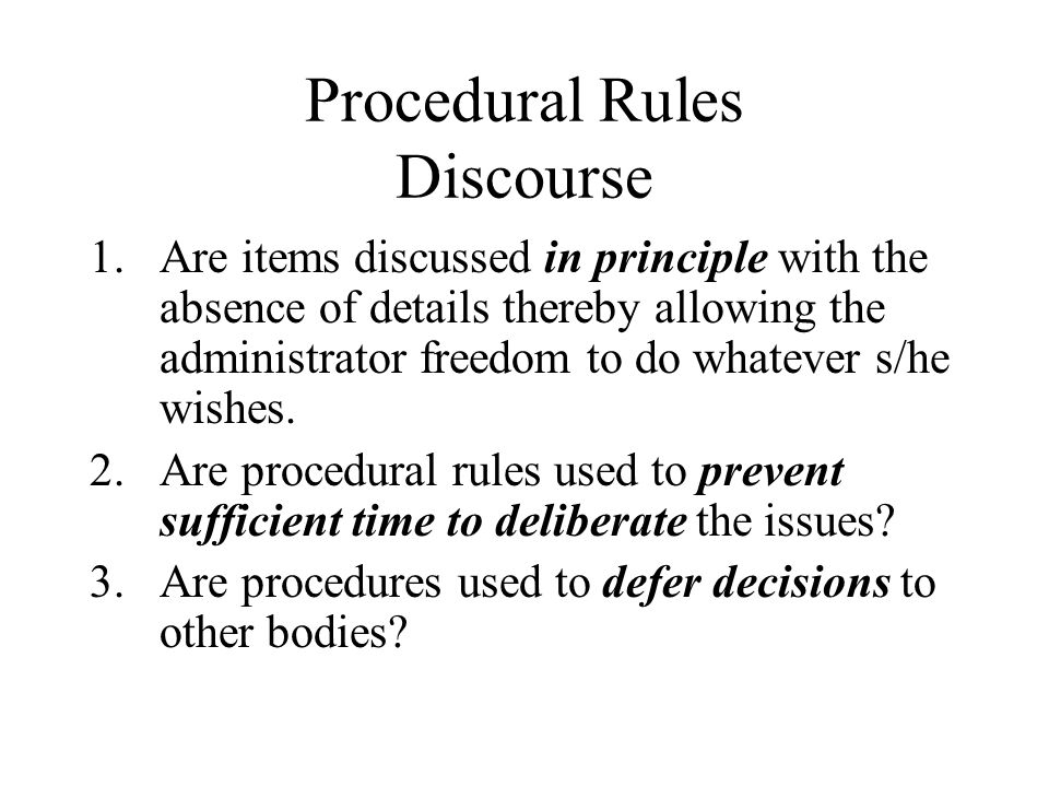 Procedural Rules Discourse