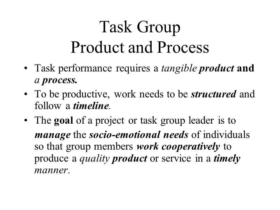 Task Group Product and Process
