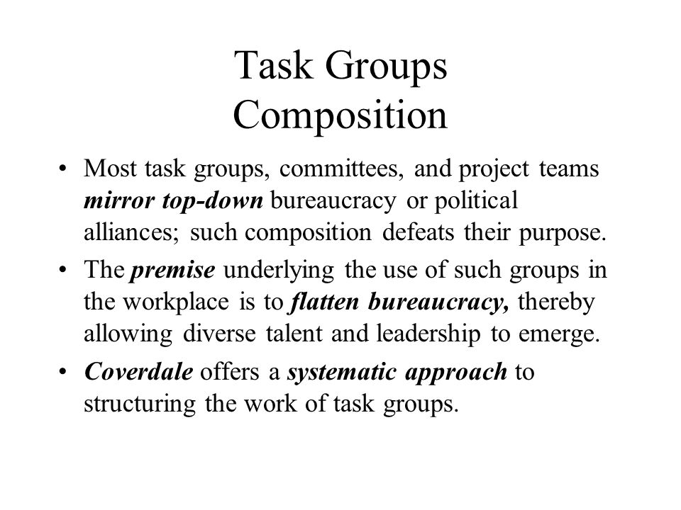 Task Groups Composition