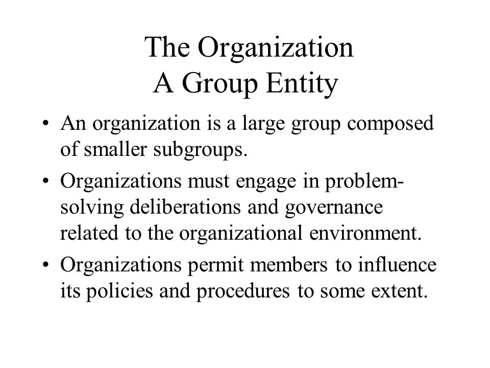 The Organization A Group Entity