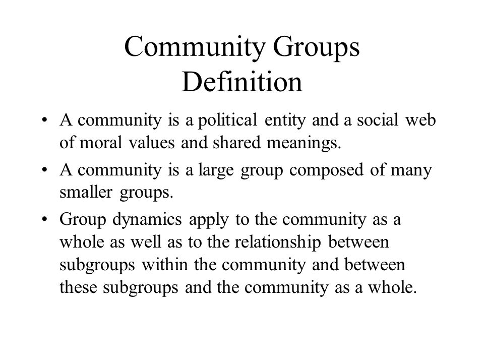 Community Groups Definition