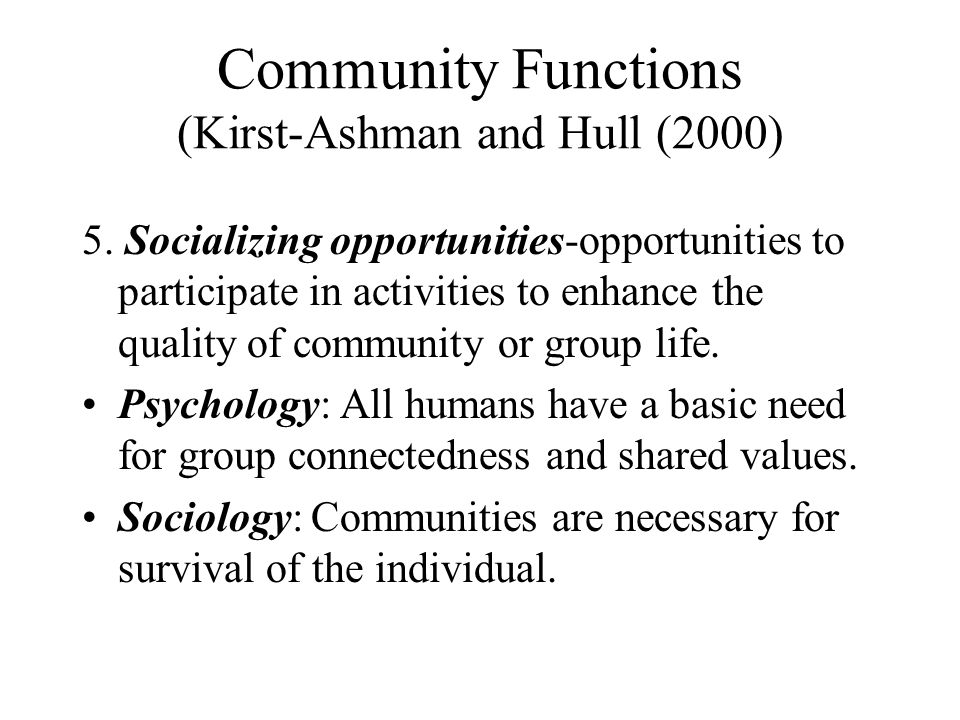 Community Functions (Kirst-Ashman and Hull (2000)