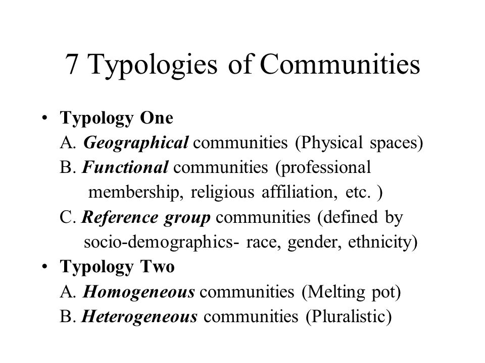7 Typologies of Communities