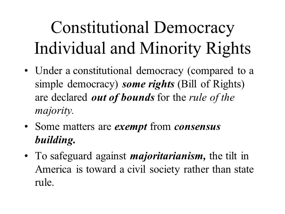 Constitutional Democracy Individual and Minority Rights