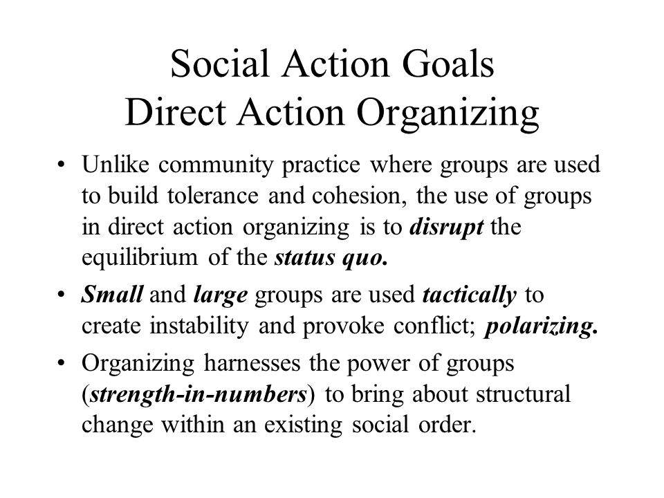 Social Action Goals Direct Action Organizing