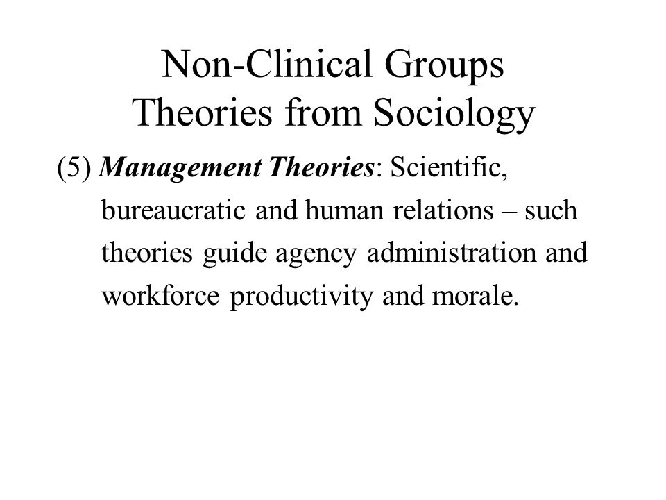 Non-Clinical Groups Theories from Sociology