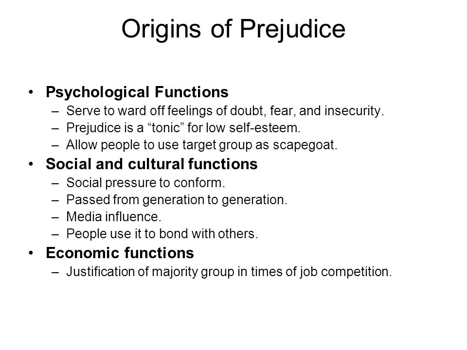 Origins of Prejudice Psychological Functions