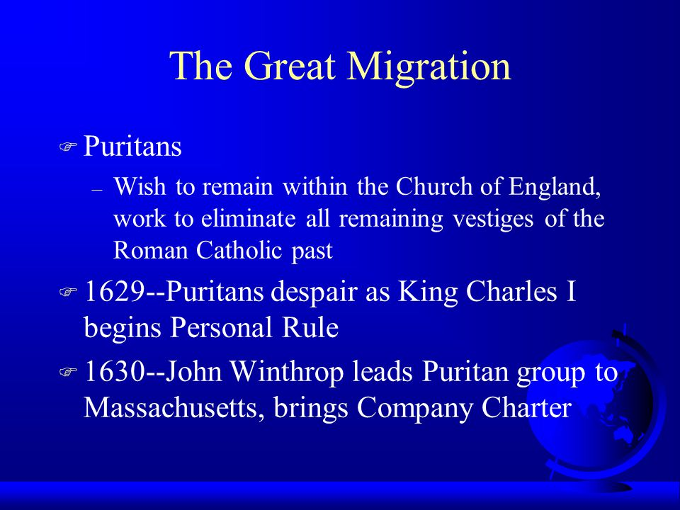 The Great Migration Puritans
