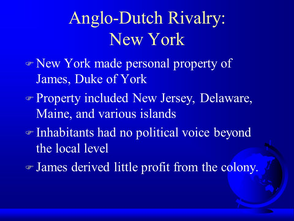 Anglo-Dutch Rivalry: New York
