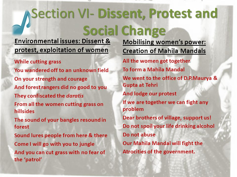 Section VI- Dissent, Protest and Social Change