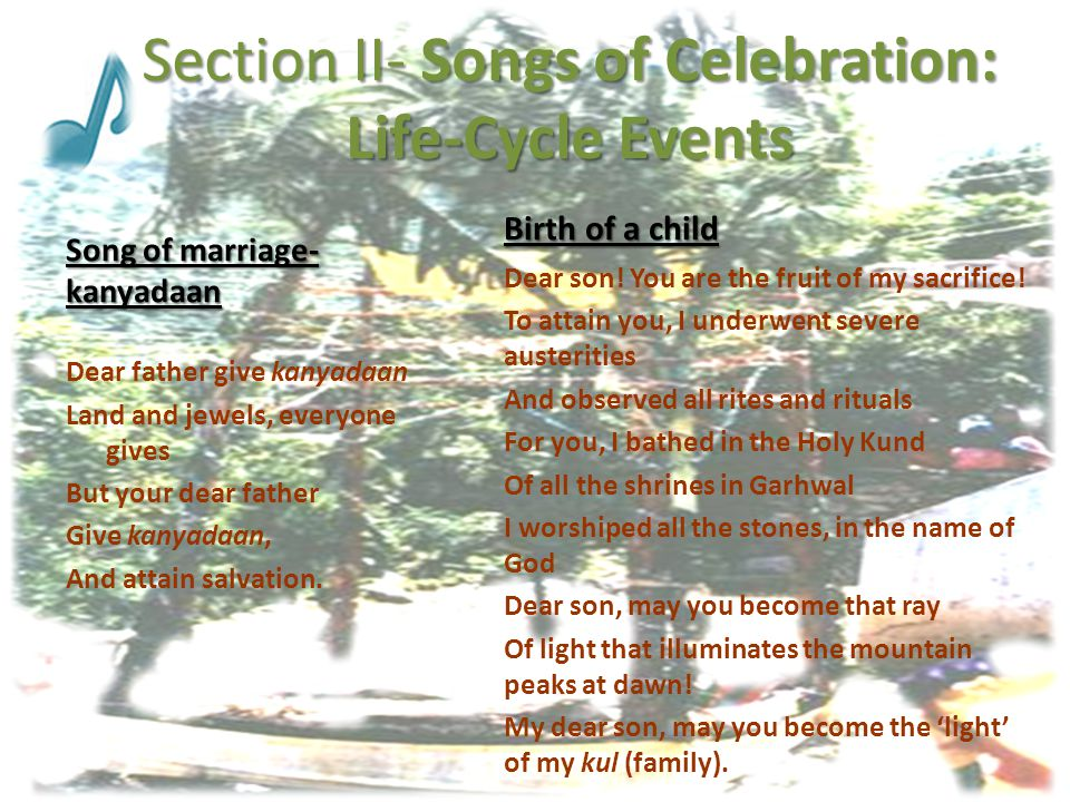 Section II- Songs of Celebration: Life-Cycle Events