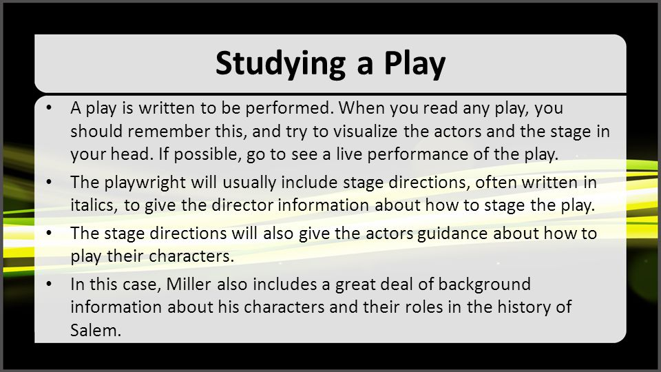 Studying a Play