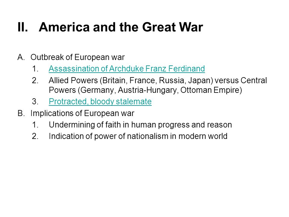 II. America and the Great War