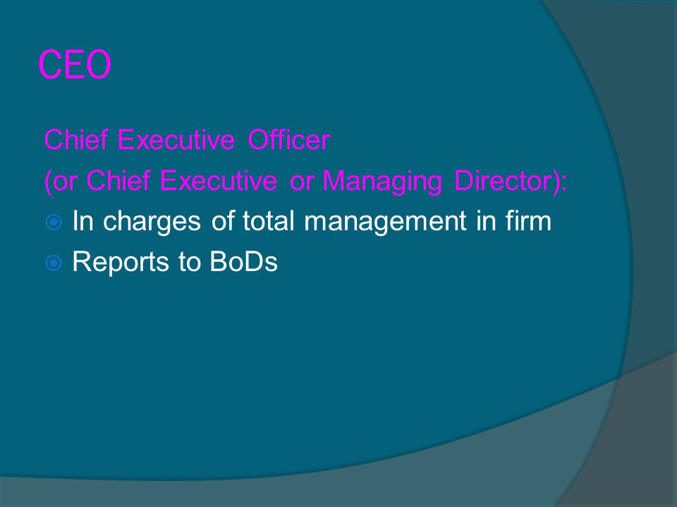 CEO Chief Executive Officer (or Chief Executive or Managing Director):