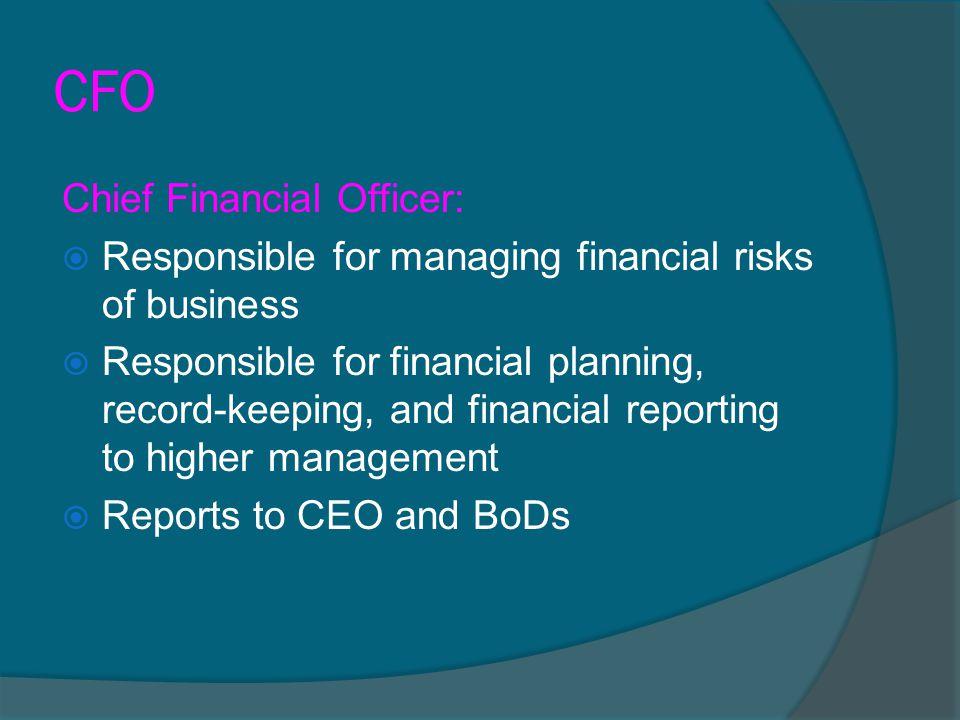 CFO Chief Financial Officer: