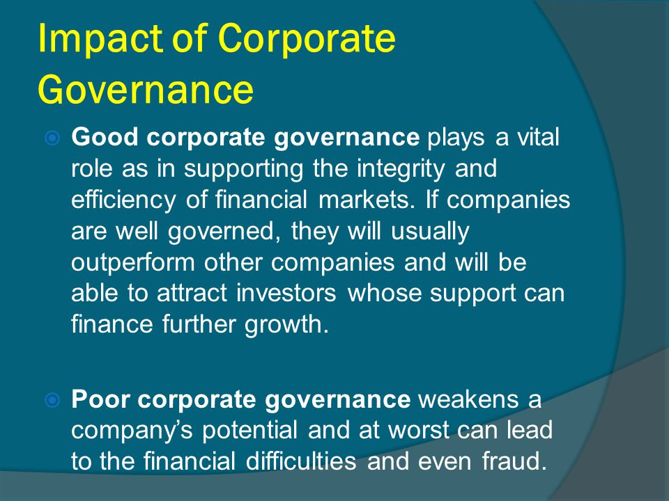 effect of corporate governance on financial Corporate governance and firm performance in  listed companies in the united arab emirates   financial market,  36 oecd principles of corporate governance.