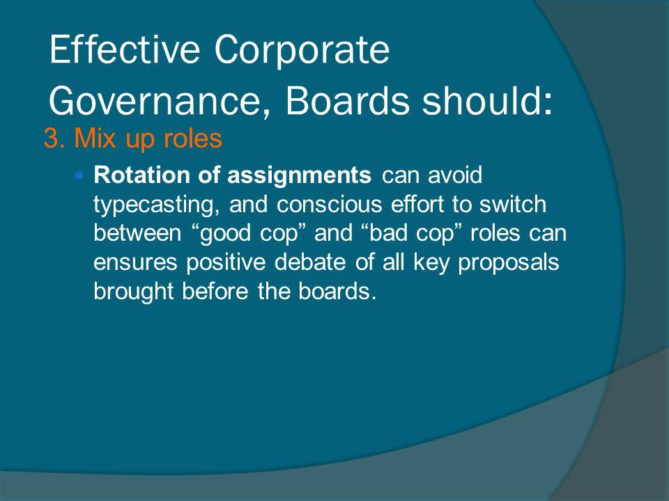 Effective Corporate Governance, Boards should: