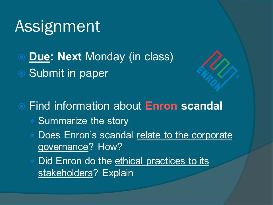 Assignment Due: Next Monday (in class) Submit in paper