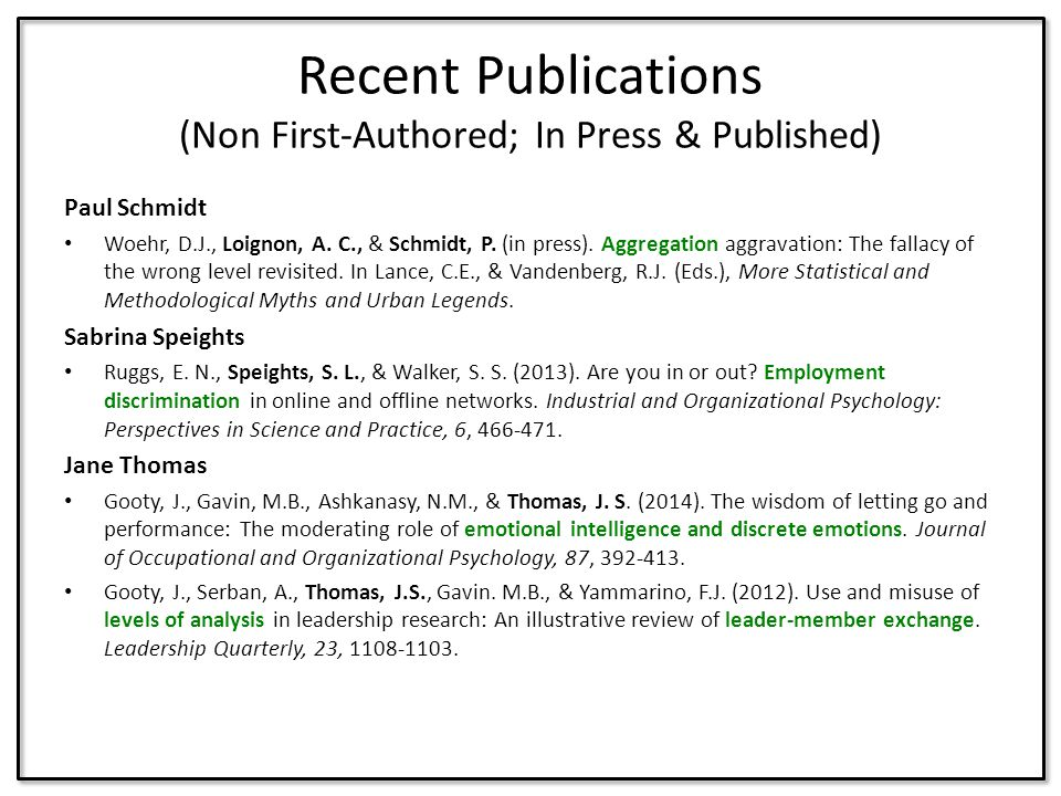 Recent Publications (Non First-Authored; In Press & Published)