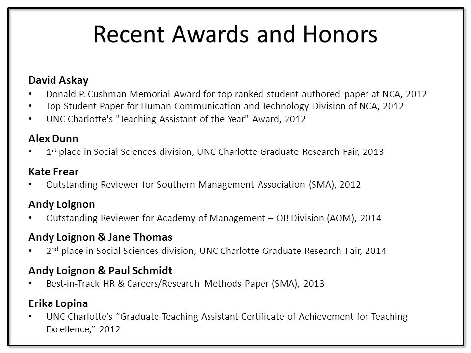 Recent Awards and Honors