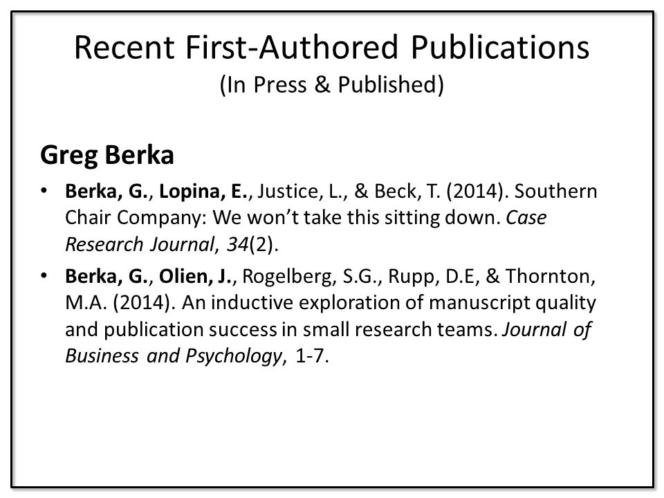 Recent First-Authored Publications (In Press & Published)