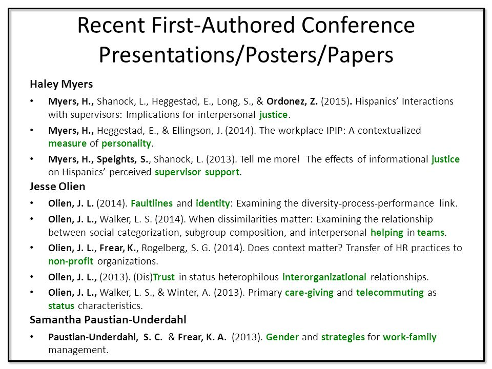 Recent First-Authored Conference Presentations/Posters/Papers