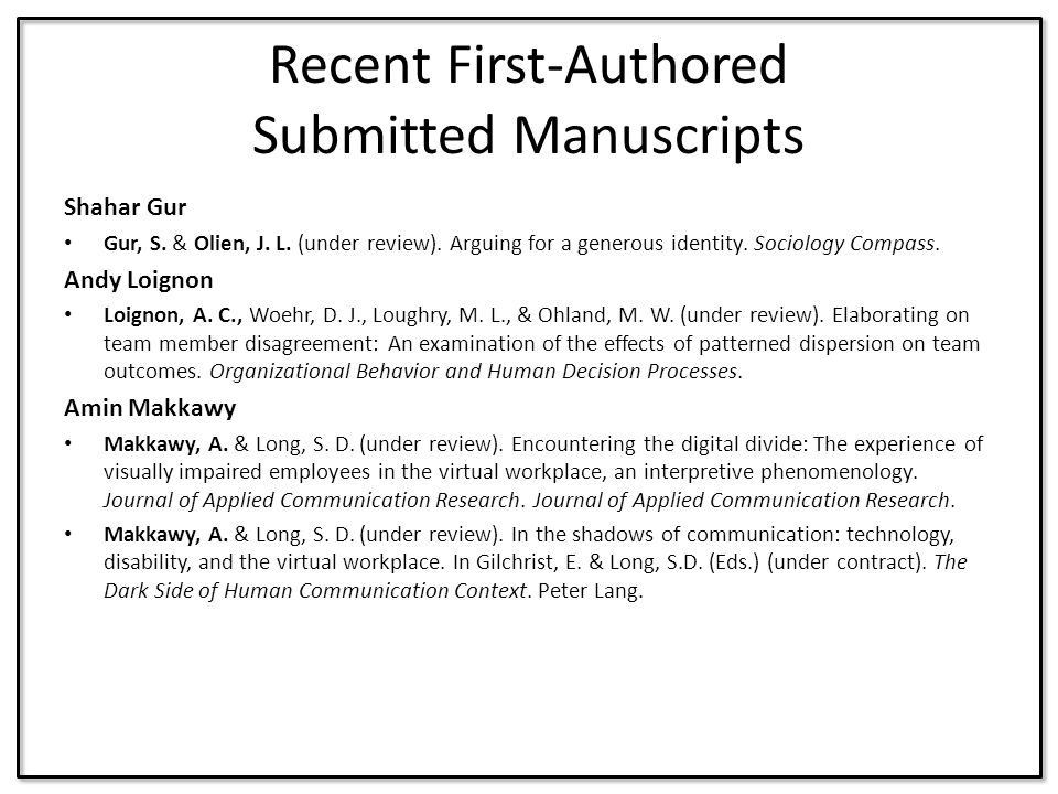 Recent First-Authored Submitted Manuscripts