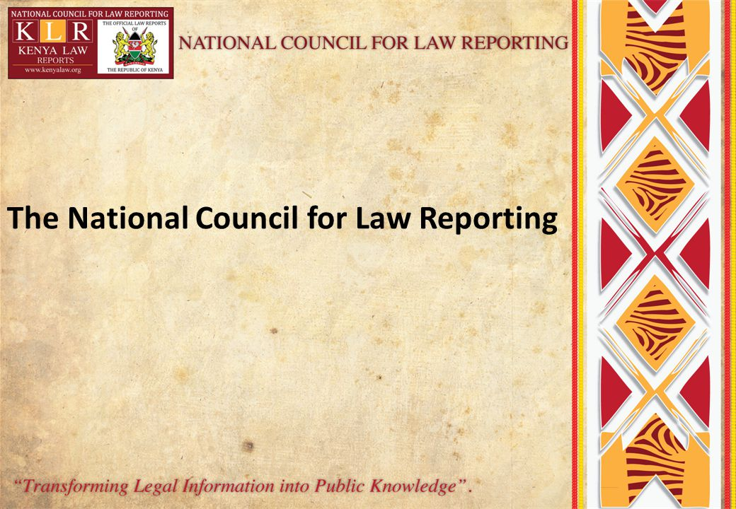 The National Council for Law Reporting