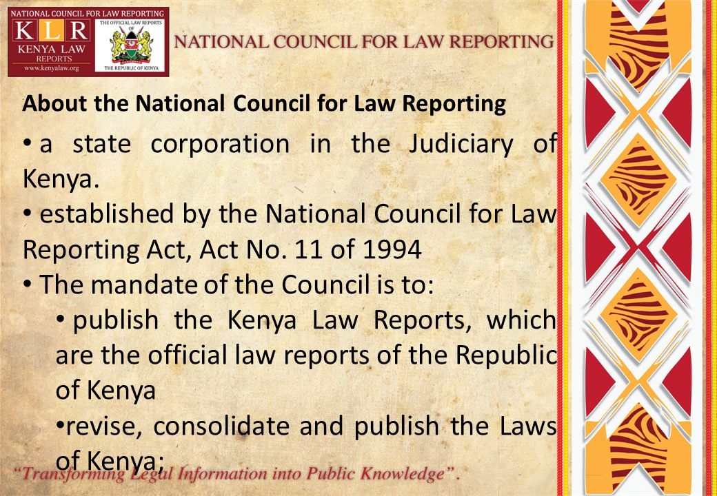 a state corporation in the Judiciary of Kenya.