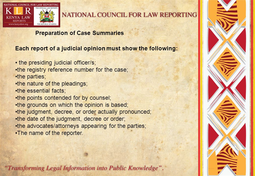 Preparation of Case Summaries