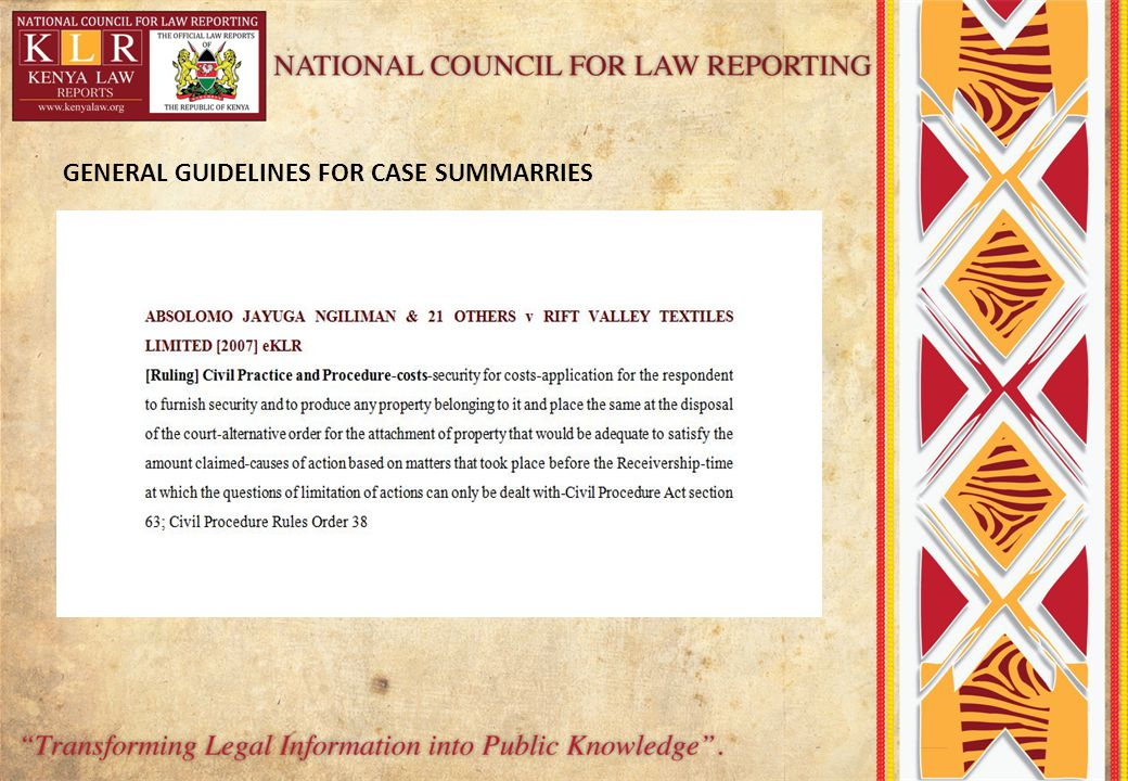 GENERAL GUIDELINES FOR CASE SUMMARRIES