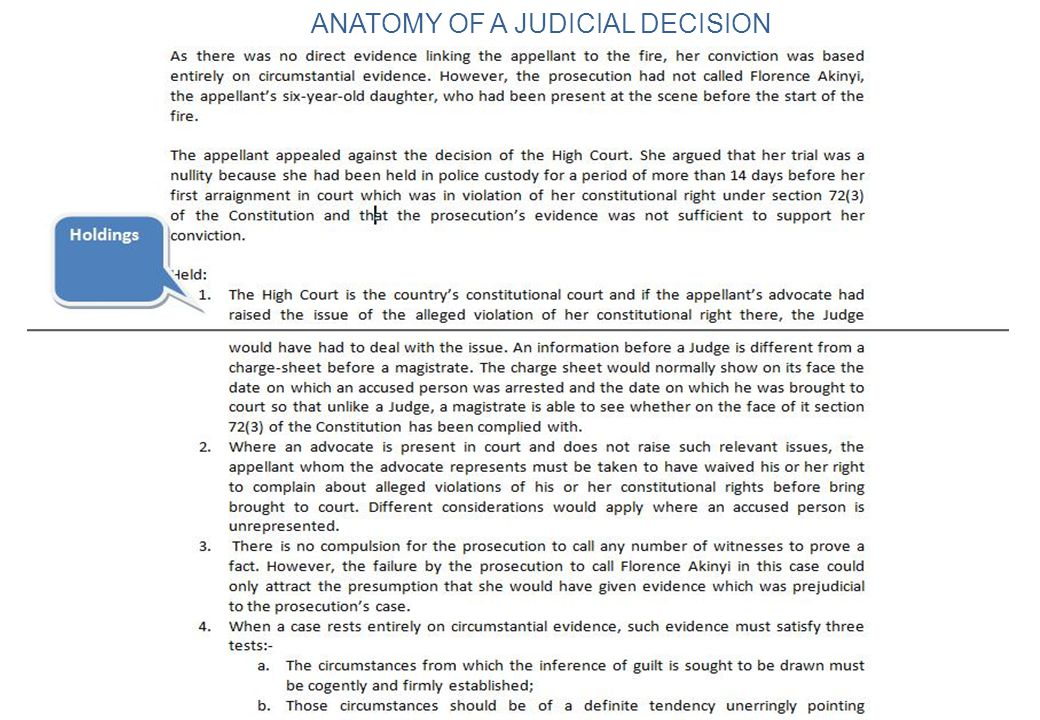 ANATOMY OF A JUDICIAL DECISION