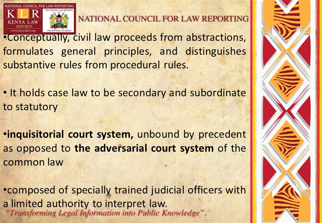 It holds case law to be secondary and subordinate to statutory