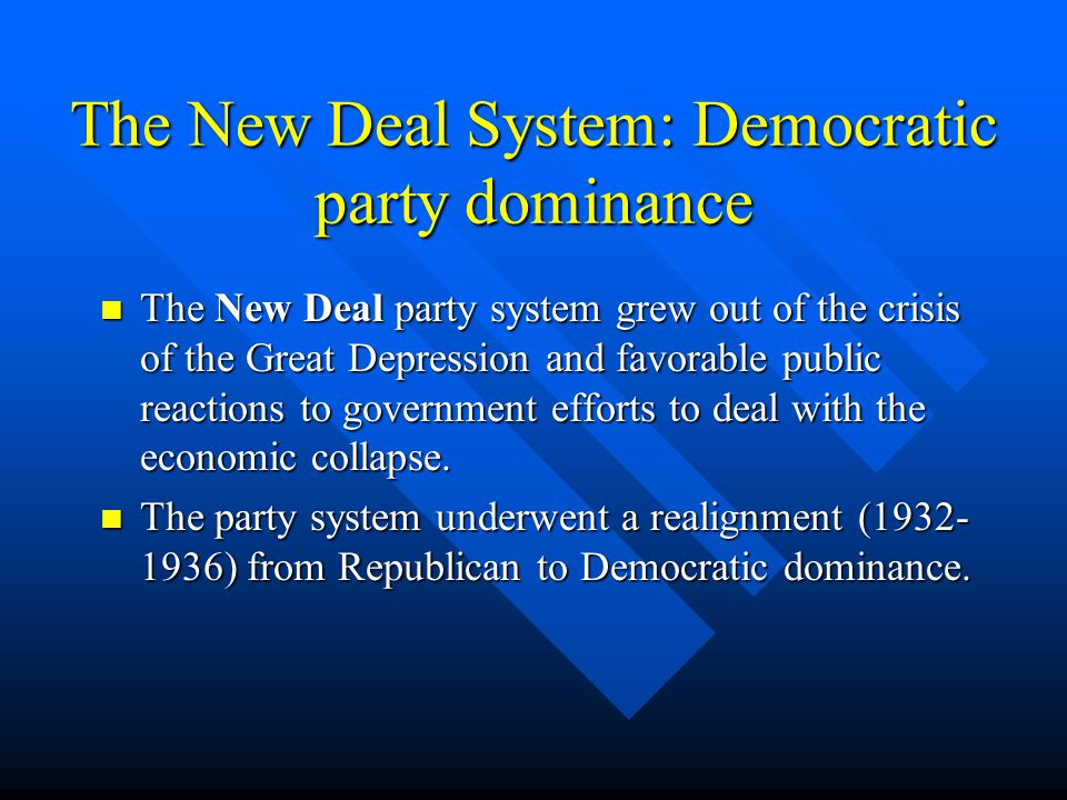 The New Deal System: Democratic party dominance