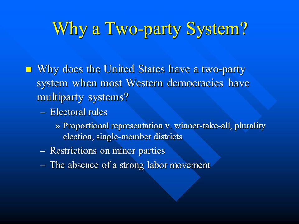 Why a Two-party System Why does the United States have a two-party system when most Western democracies have multiparty systems