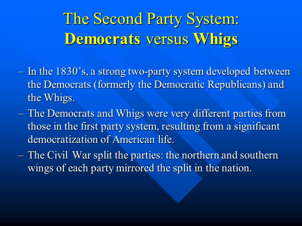The Second Party System: Democrats versus Whigs