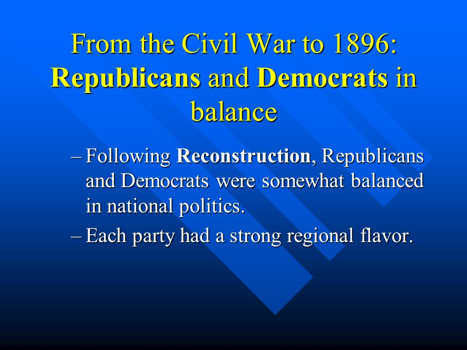 From the Civil War to 1896: Republicans and Democrats in balance