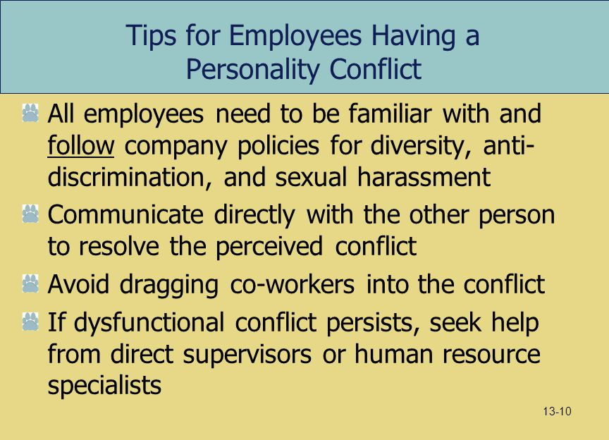 Tips for Employees Having a Personality Conflict