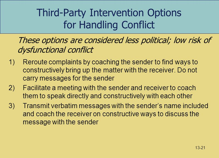 Third-Party Intervention Options for Handling Conflict
