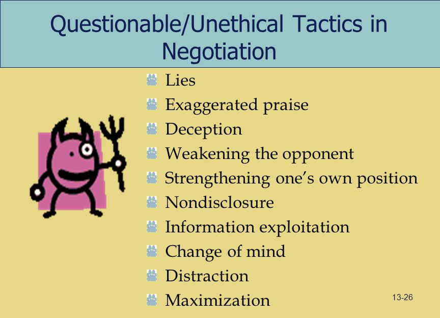 Questionable/Unethical Tactics in Negotiation