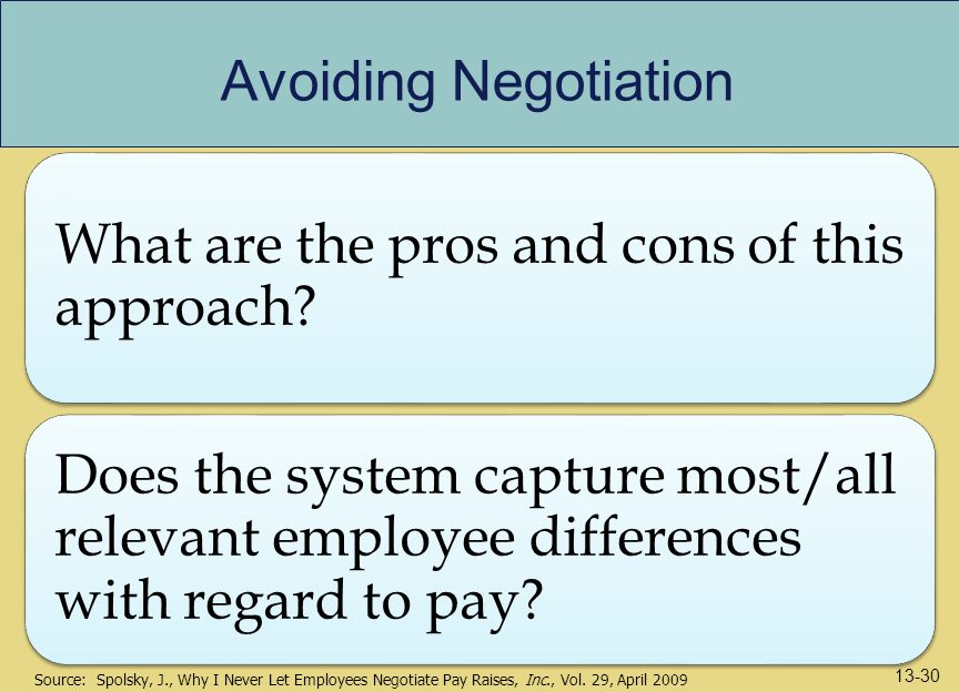Avoiding Negotiation What are the pros and cons of this approach Does the system capture most/all relevant employee differences with regard to pay