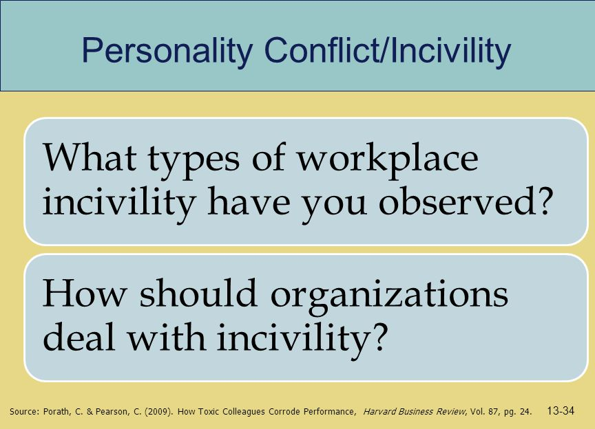 Personality Conflict/Incivility