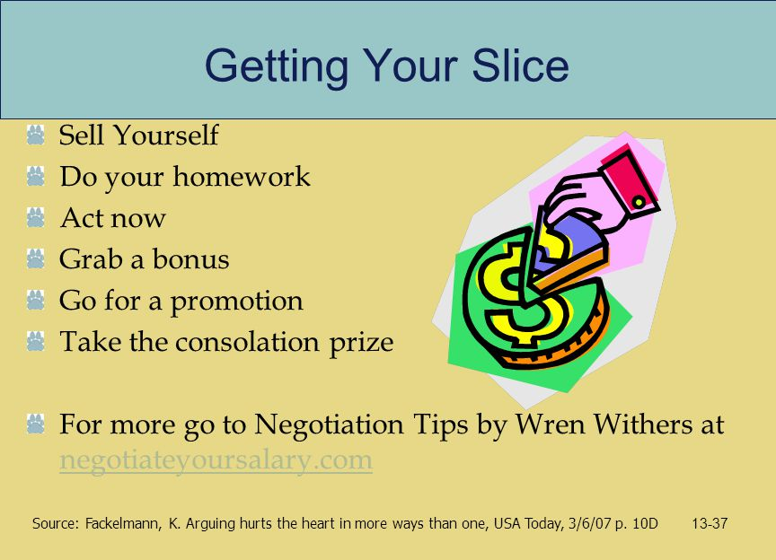 Getting Your Slice Sell Yourself Do your homework Act now Grab a bonus