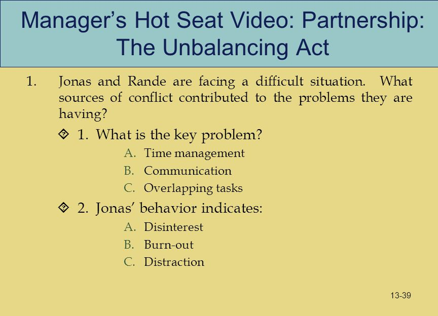 Manager's Hot Seat Video: Partnership: The Unbalancing Act