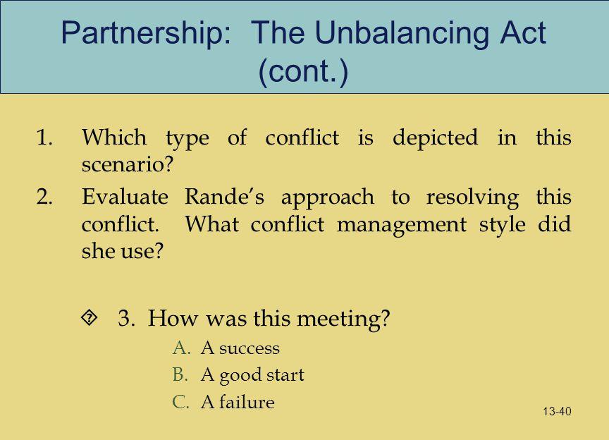 Partnership: The Unbalancing Act (cont.)
