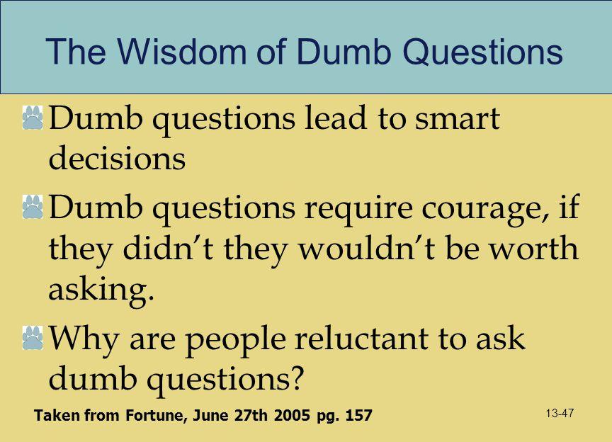 The Wisdom of Dumb Questions