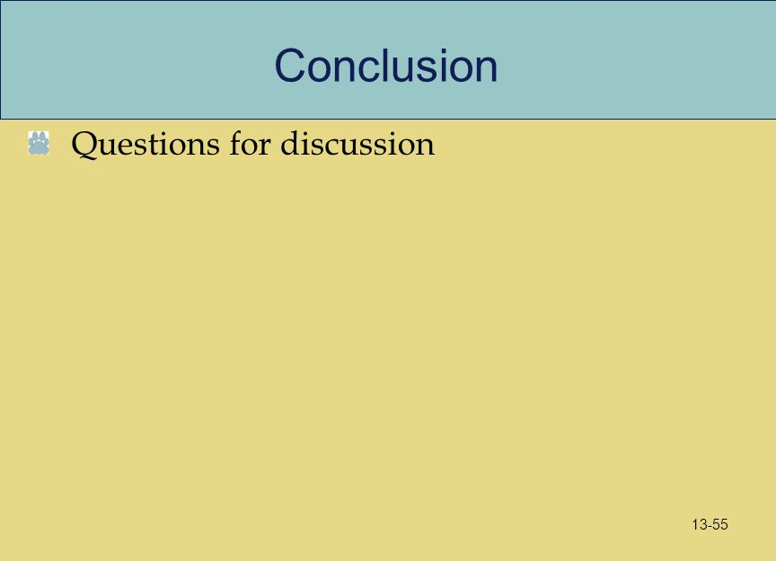 Conclusion Questions for discussion