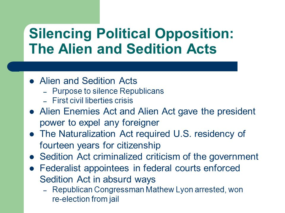 Silencing Political Opposition: The Alien and Sedition Acts