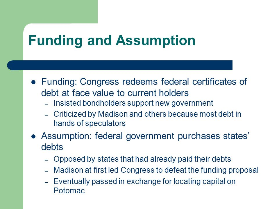Funding and Assumption