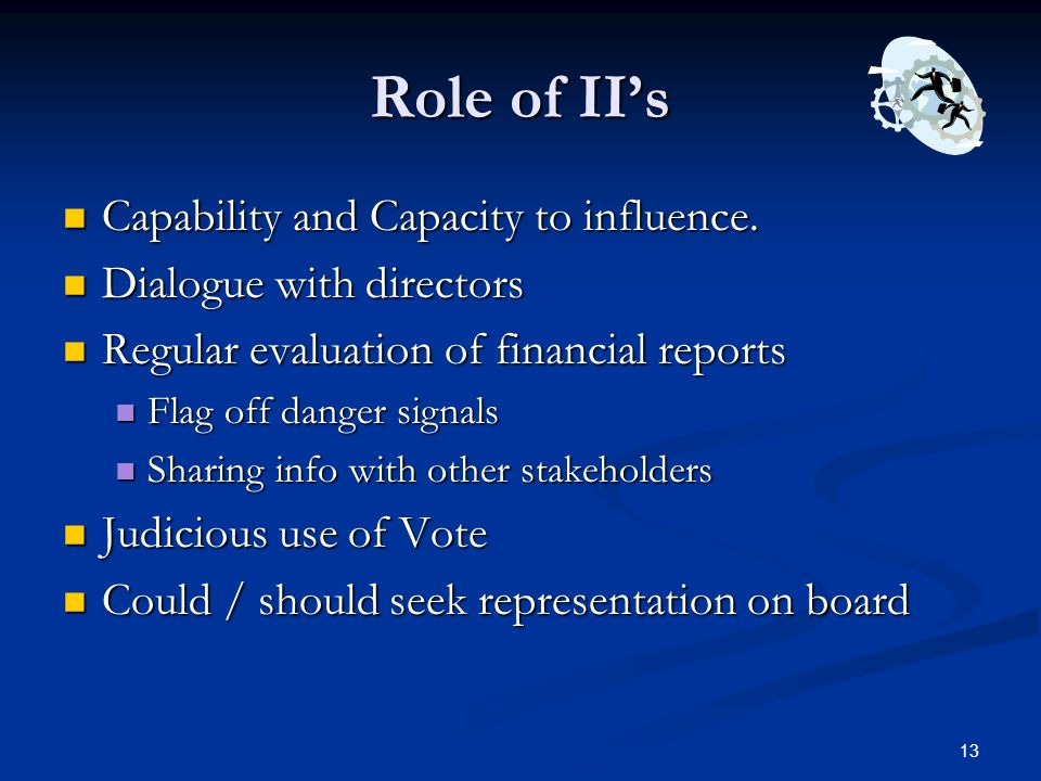 Role of II's Capability and Capacity to influence.